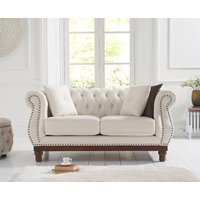 Product photograph showing Henbury Chesterfield Ivory Linen 2 Seater Sofa