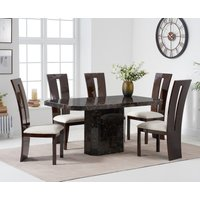 Read more about Belle 160cm brown marble dining table with verbier dining chairs