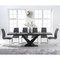Product photograph showing Jacob 180cm Extending Grey Stone Table With Lorin Chairs - White 6 Chairs