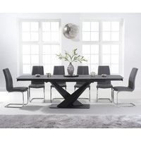 Product photograph showing Jacob 180cm Extending Grey Stone Table With Tarin Chairs - White 6 Chairs