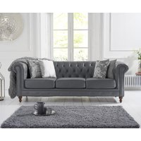 Product photograph showing Milano Chesterfield Grey Leather 3 Seater Sofa
