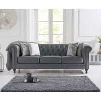 Product photograph showing Ex-display Milano Chesterfield Grey Leather 3 Seater Sofa
