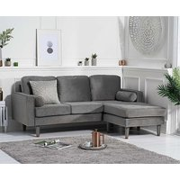 Product photograph showing Ex-display Luca Grey Velvet 3 Seater Reversible Chaise Sofa