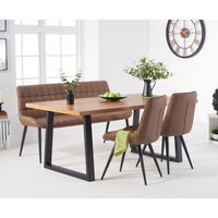 Urban 180cm Industrial Dining Table with Heidi Chairs and Heidi Brown Bench - Brown, 2 Chairs