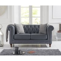 Product photograph showing Milano Chesterfield Grey Leather 2 Seater Sofa
