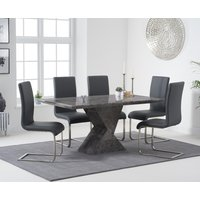 Aaron 160cm Grey Marble Dining Table With Malaga Dining Chairs