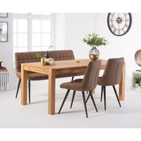 Verona 180cm Oak Table With Heidi Chairs and Brown Heidi Bench - Brown, 2 Chairs