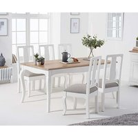 Product photograph showing Ex-display Parisian 175cm Shabby Chic Table With Chairs With Four Grey Fabric Seats