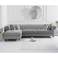 Product photograph showing Flora Grey Linen Left Facing Chesterfield Chaise Sofa