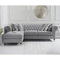 Flora Medium Grey Linen Left Facing Chaise Sofa