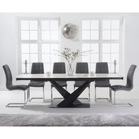 Jacob 180cm White Extending Ceramic Dining Table with Lorin Chairs - Black, 6 Chairs