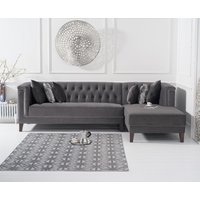Tammie Grey Velvet Right Facing Chaise Sofa
