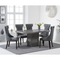 Belle 160cm Grey Marble Dining Table With Freya Dining Chairs