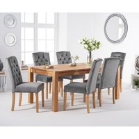 Verona 150cm Solid Oak Dining Table with Claudia Velvet Chairs