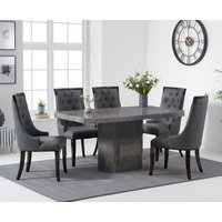 Read more about Belle 160cm grey marble dining table with angelica dining chairs