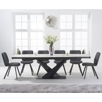 Jacob 180cm White Extending Ceramic Dining Table with Dexter Faux Leather Chairs - Grey, 6 Chairs