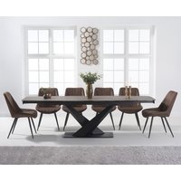 Jacob 180cm Mink Extending Ceramic Dining Table with Marcel Antique Chairs - Mink, 6 Chairs