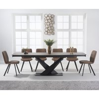 Jacob 180cm Mink Extending Ceramic Dining Table with Dexter Faux Leather Chairs - Grey, 6 Chairs