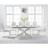 Boston 180cm White Leg Extending Ceramic Dining Table with Lorin Chairs - White, 6 Chairs