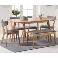 Product photograph showing Sacha Extending Dining Table With Sacha Cushion Seat Chairs And Sacha Benches - Oak And Grey 2 Chairs