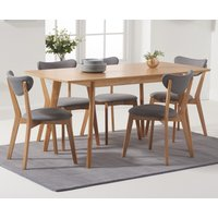 Sacha 120cm Extending Dining Table with Sacha Grey and Oak Cushion Seat Chairs - Oak and Grey, 4 Chairs