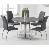 Bali 120cm Round Grey Marble Dining Table With Calgary Dining Chairs