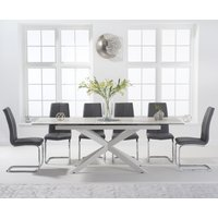 Boston 180cm White Leg Extending Ceramic Dining Table with Tarin Chairs - Grey, 6 Chairs