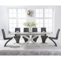 Boston 180cm White Leg Extending Ceramic Dining Table with Hampstead Z Chairs - Ivory, 6 Chairs