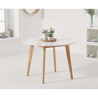 Ex-display Rebekah Oak and White 110cm Round Dining Table