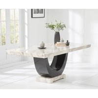 Raphael 200cm Cream and Black Pedestal Marble Dining Table
