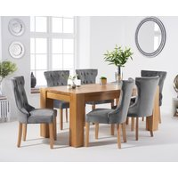 Thames 180cm Oak Dining Table with Camille Velvet Chairs - Blue, 6 Chairs