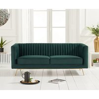Product photograph showing Ex-display Danube Green Velvet 2 Seater Sofa