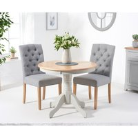 Epsom 90cm Oak and Grey Dining Table with Claudia Fabric Chairs - Grey, 2 Chairs