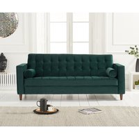 Product photograph showing Rhine Green Velvet 3 Seater Sofa