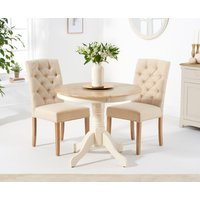 Epsom 90cm Oak and Cream Dining Table with Claudia Fabric Chairs - Cream, 2 Chairs