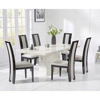 Carvelle 200cm White Pedestal Marble Dining Table with Raphael Chairs