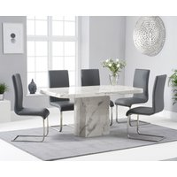 Read more about Belle 160cm white marble dining table with malaga dining chairs