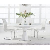 Jackson 120cm Round White Extending Dining Table with Lorin Chairs - White, 4 Chairs