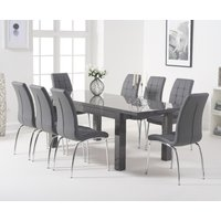 Atlanta Dark Grey Gloss 160-220cm Extending Dining Table with Calgary Chairs - Brown, 4 Chairs
