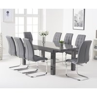 Product photograph showing Atlanta Dark Grey Gloss 160-220cm Extending Dining Table With Lorin Chairs - White 4 Chairs