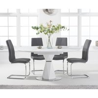 Jackson 120cm Round White Extending Dining Table with Tarin Chairs - Grey, 4 Chairs