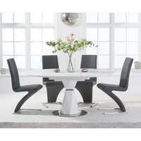 Jackson 120cm Round White Extending Dining Table with Hampstead Z Chairs - Grey, 4 Chairs