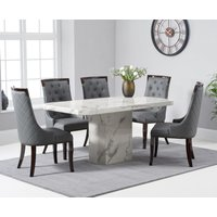 Belle 160cm White Marble Dining Table With Angelica Dining Chairs
