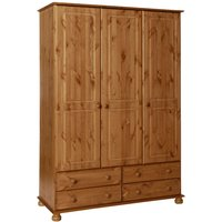 Product photograph showing Denmark Pine 3 Door 4 Drawer Wardrobe