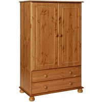 Product photograph showing Denmark Pine 2 Door 2 Drawer Combi Wardrobe