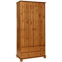 Product photograph showing Denmark Pine 2 Door 2 Drawer Wardrobe
