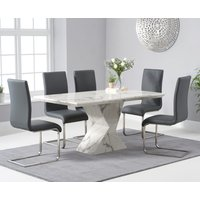 Read more about Aaron 160cm white marble dining table with malaga dining chairs