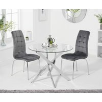 Product photograph showing Denver 95cm Glass Dining Table With Calgary Velvet Chairs - Grey 2 Chairs