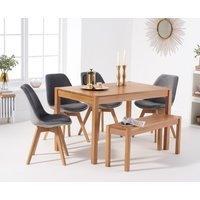 Product photograph showing Oxford 120cm Solid Oak Dining Table With Duke Velvet Chairs And Bench - Grey 2 Chairs