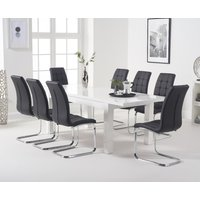 Atlanta White Gloss 160-220cm Extending Dining Table with Lorin Chairs - Black, 4 Chairs